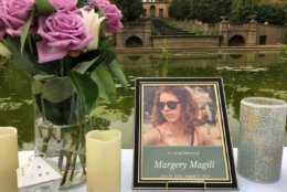 """""""Her legacy will live on,"""" said Jeffrey Magill. Margery Magill's father, at the vigil for his daughter Tuesday evening. """"You'll be hearing more about it. We're going to need your help."""" (WTOP/Michelle Basch)"""