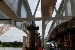 Construction activities at Arlington Memorial Bridge in June 2019