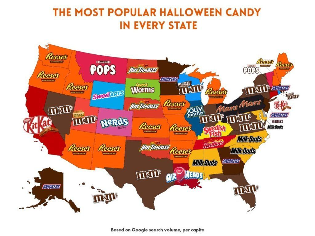 Favorite Halloween Candy By State 2020 The most popular Halloween candy, according to each state | WTOP