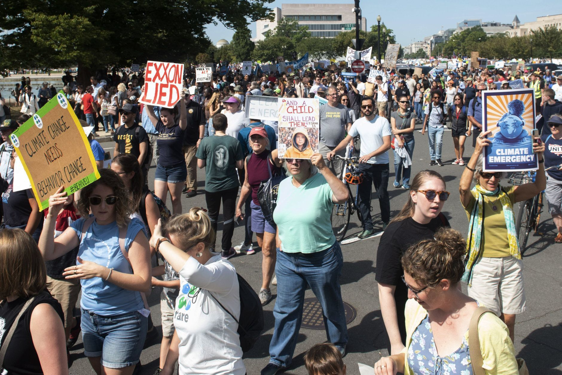 People march to the U.S. Capitol during the Climate Strike Friday, Sept. 20, 2019, in Washington. (AP Photo/Kevin Wolf)
