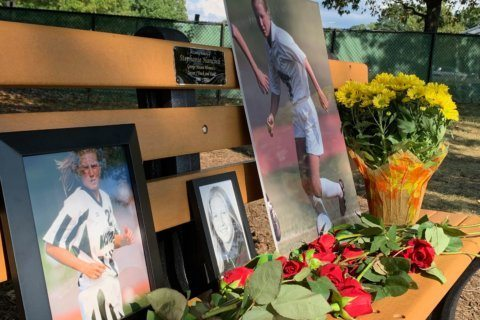 Memorial bench dedicated to former GMU soccer player who drowned