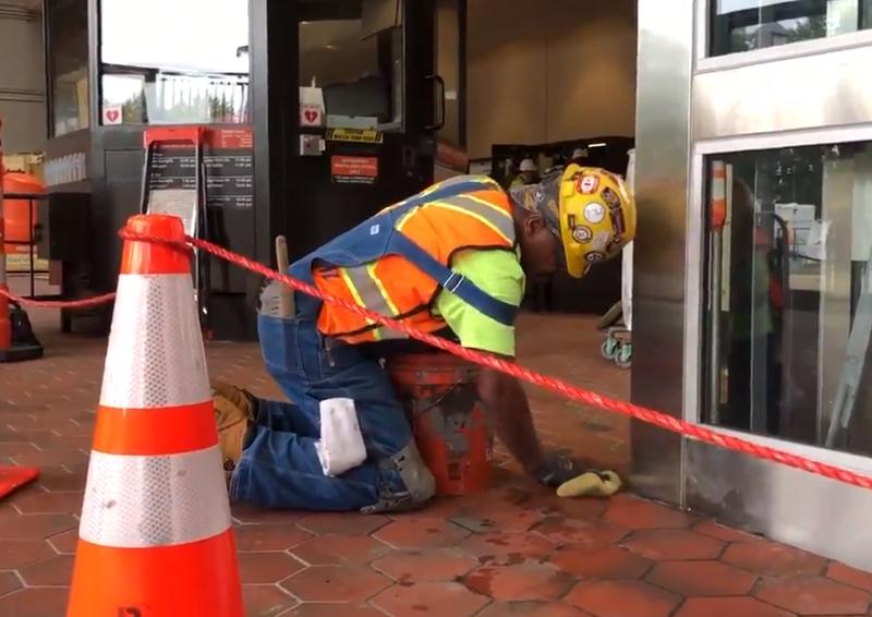 Metro worker on platform