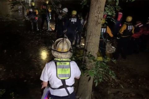 Woman rescued after falling down 20-foot embankment into Rock Creek