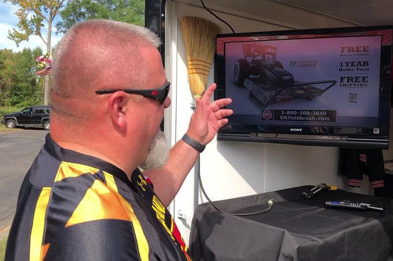 Brian Souders tailgating trailer has satellite TV