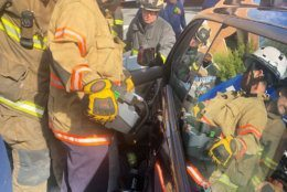 D.C. firefighters used several specialized rescue tools to free the woman's trapped leg.