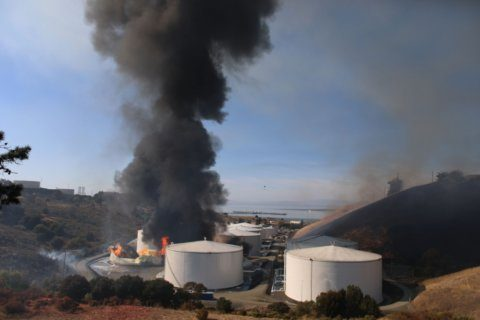 Officials study fire at California fuel site after quake