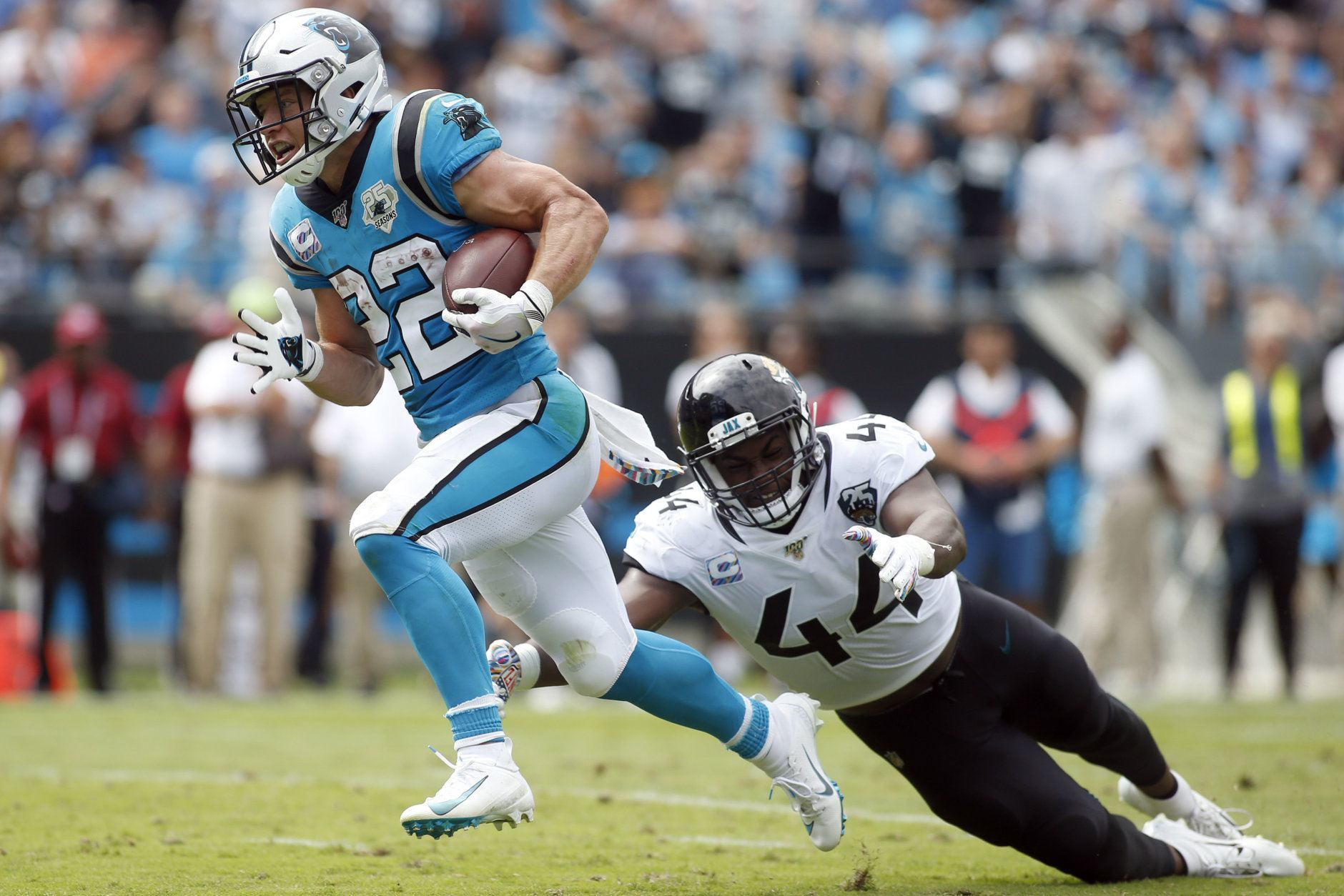 "<p><b><i>Jaguars 27</i></b><br /> <b><i>Panthers 34</i></b></p> <p><a href=""https://deadspin.com/gardner-minshew-has-a-new-nickname-1838621855 "">The Jock Strap King</a> couldn&#8217;t summon his Minshew Magic again so the focus of this game is where it belongs: On Carolina&#8217;s Christian McCaffrey, only the second player in NFL history with at least 175 scrimmage yards in four of his team&#8217;s first five games of the season. If he keeps doing the heavy lifting for <a href=""https://profootballtalk.nbcsports.com/2019/10/03/over-a-quarter-of-panthers-roster-on-injury-report/"">the injury-depleted Panthers</a>, MVP is a two-horse race between McCaffrey and Patrick Mahomes.</p>"