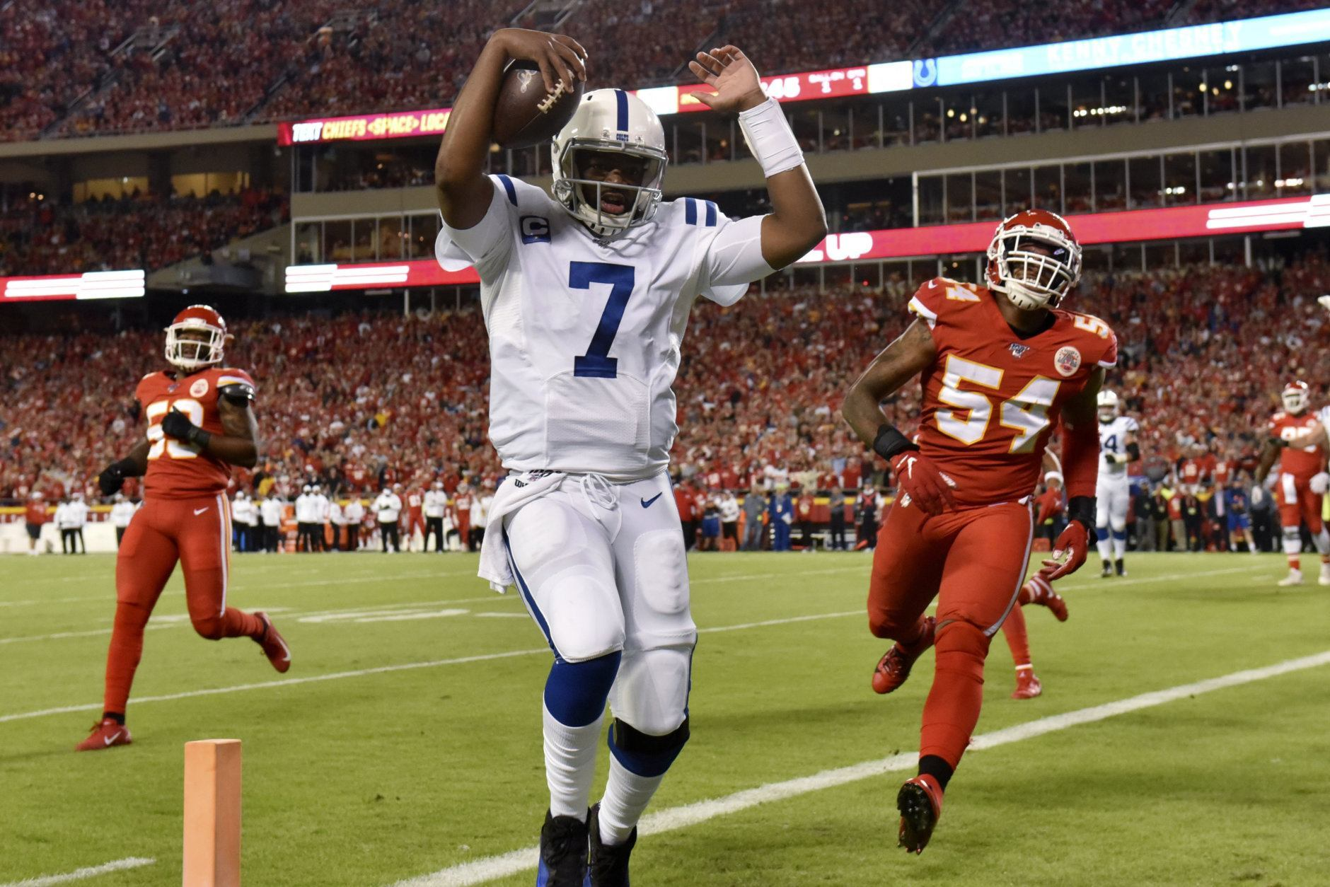 "<p><b><i>Colts 19</i></b><br /> <b><i>Chiefs 13</i></b></p> <p>Whatever <a href=""https://profootballtalk.nbcsports.com/2019/10/03/justin-houston-helping-colts-figure-out-a-game-plan-for-patrick-mahomes/"">Justin Houston told the Colts defense</a> about slowing down Patrick Mahomes clearly worked. A week after blowing one to the Raiders at home, Indy dominated the line of scrimmage on both sides of the ball to notch a signature win in the post-Luck era.</p> <p>Meanwhile, Kansas City has to be worried about Mahomes&#8217; ankle. Even though the reigning MVP at 80% is still a Pro Bowler, the Chiefs need him healthy to overcome that shaky defense.</p>"