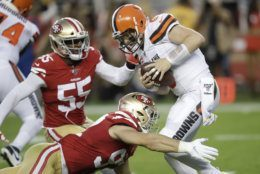<p><em><strong>Browns 3</strong></em><br /> <em><strong>49ers 31</strong></em></p> <p>San Francisco&#8217;s run for 800 yards in four games. The defense completely shut down Cleveland to not only make a primetime statement that they&#8217;re for real, but the undefeated Niners planted a flag atop the NFC West entering a big showdown with the Rams at the Coliseum.</p>