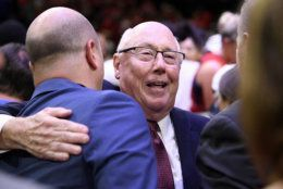 Washington Mystics head coach Mike Thibault celebrates after Game 5 of basketball's WNBA Finals against the Connecticut Sun, Thursday, Oct. 10, 2019, in Washington. (AP Photo/Nick Wass)