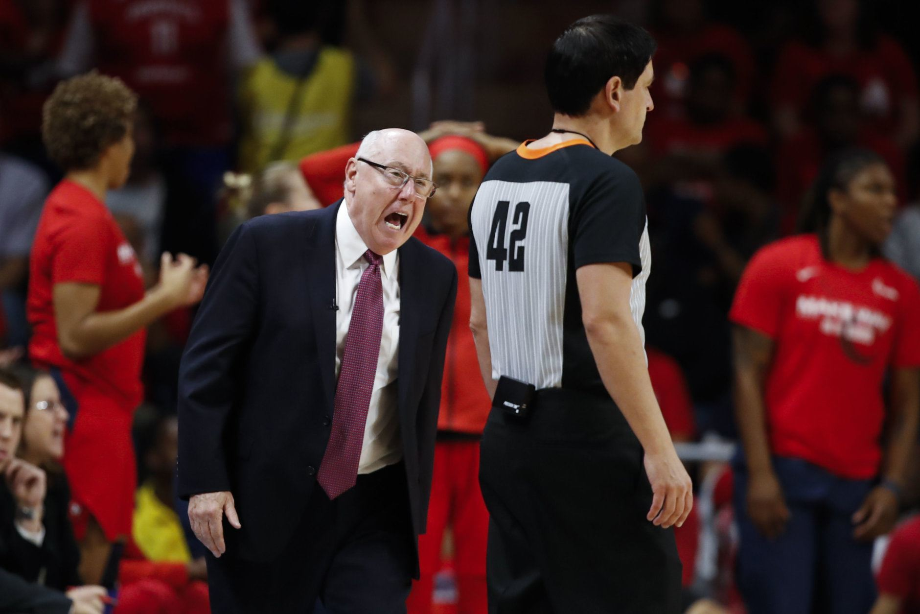 Washington Mystics head coach Mike Thibault talks to a referee during the second half of Game 5 of basketball's WNBA Finals against the Connecticut Sun, Thursday, Oct. 10, 2019, in Washington. (AP Photo/Alex Brandon)