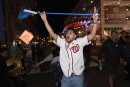 Fans celebrate after the Washington Nationals defeated the St. Louis Cardinals 7-4 in Game 4 of the baseball National League Championship Series to sweep, and to advance to the World Series. (AP Photo/Nick Wass)