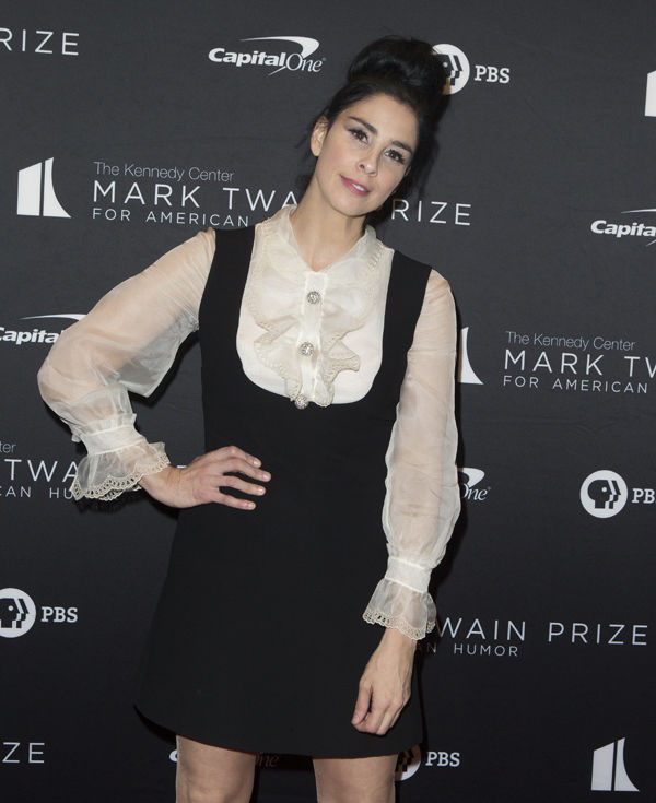 Sarah Silverman arrives at the Kennedy Center for the Performing Arts for the 22nd Annual Mark Twain Prize for American Humor presented to Dave Chappelle on Sunday, Oct. 27, 2019, in Washington. (Photo by Owen Sweeney/Invision/AP)