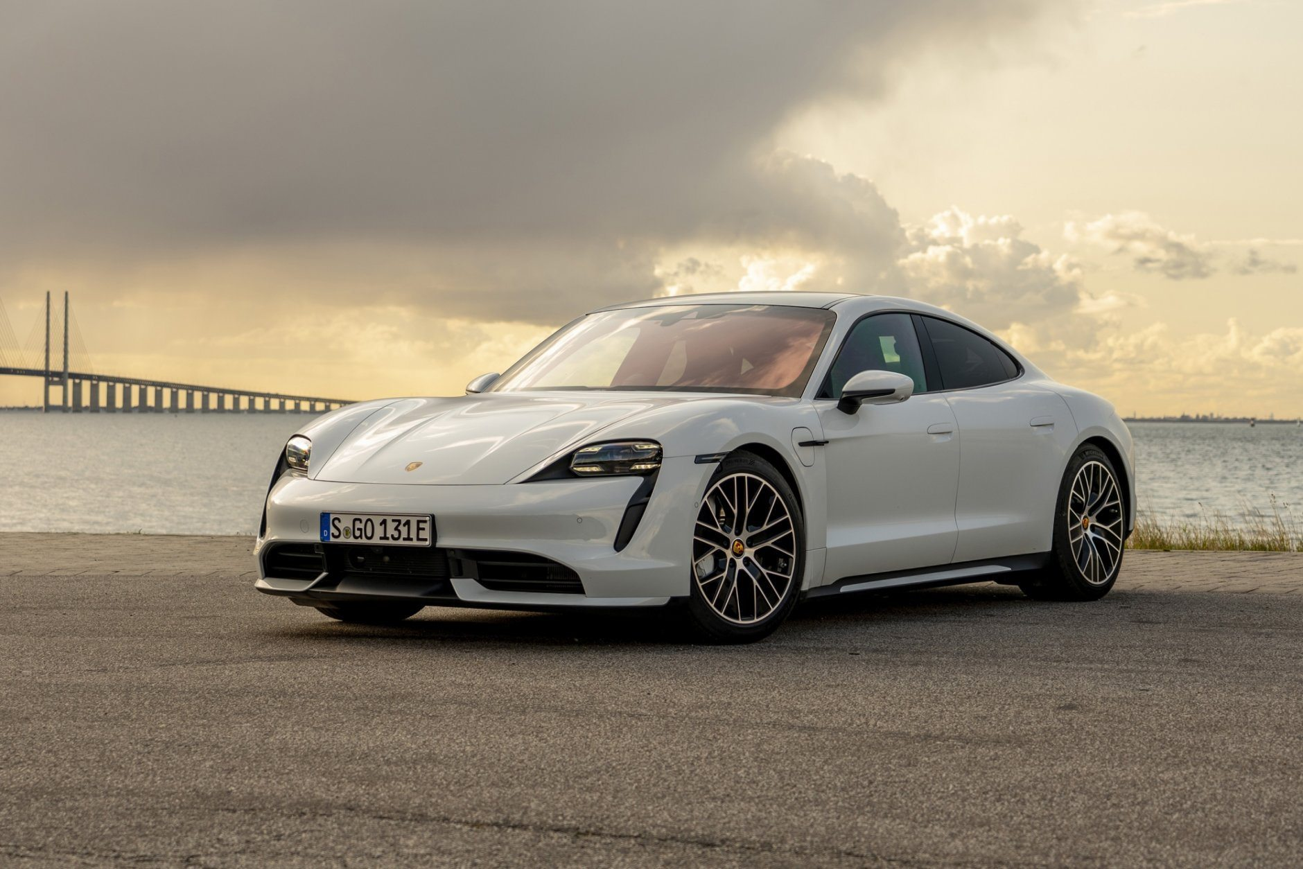 This undated photo provided by Porsche shows the 2020 Porsche Taycan, Porsche's first all-electric car. (Manuel Hollenbach/Porsche Cars North America via AP)