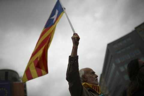The Latest: Catalan separatists protest for second day