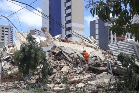 7-story building collapses in Brazil; 1 dead, others trapped