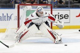 Washington Capitals goaltender Braden Holtby keeps his eye on the puck during the second period of an NHL hockey game against the St. Louis Blues Wednesday, Oct. 2, 2019, in St. Louis. (AP Photo/Jeff Roberson)