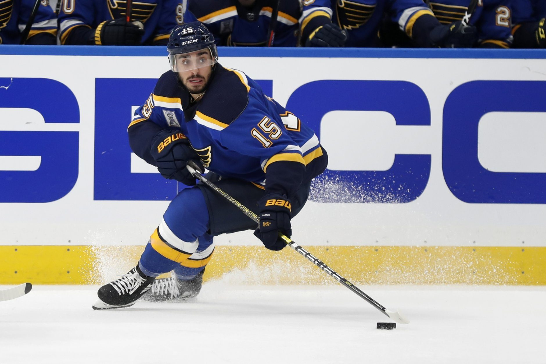 St. Louis Blues' Robby Fabbri handles the puck during the second period of an NHL hockey game against the Washington Capitals Wednesday, Oct. 2, 2019, in St. Louis. (AP Photo/Jeff Roberson)