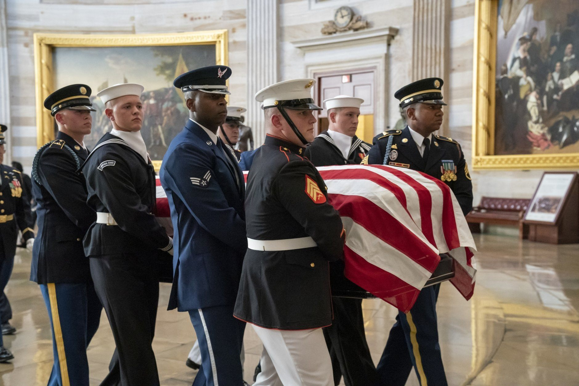 The late Maryland Rep. Elijah Cummings is carried through the Rotunda of the Capitol to lie in state at the Capitol in Washington, Thursday, Oct. 24, 2019. The Maryland congressman and civil rights champion died Thursday, Oct. 17, at age 68 of complications from long-standing health issues. (AP Photo/J. Scott Applewhite)