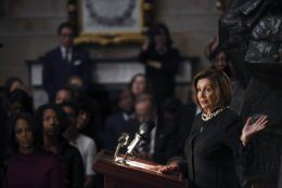 House Speaker Nancy Pelosi of Calif., speaks during a memorial service for Rep. Elijah Cummings, D-Md., at the U.S. Capitol in Washington, Thursday, Oct. 24, 2019. The Maryland congressman and civil rights champion died Thursday, Oct. 17, at age 68 of complications from long-standing health issues. (Matt McClain/Pool via AP)