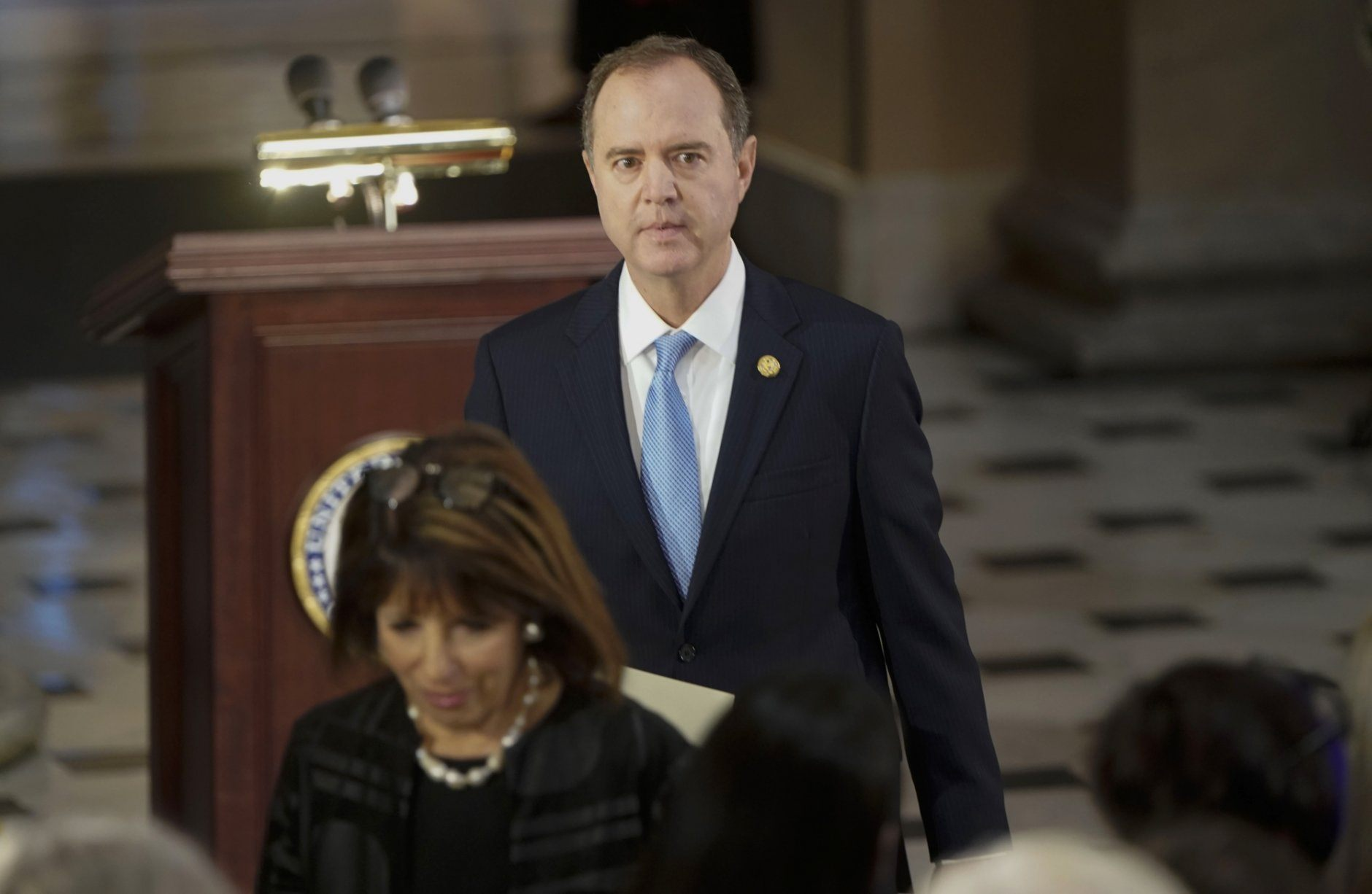 House Intelligence Committee Chairman Adam Schiff, D-Calif., and Rep Jackie Speier, D-Calif., arrive for memorial services for Rep. Elijah Cummings, D-Md., in Statuary Hall at the U.S. Capitol in Washington, Thursday, Oct. 24, 2019. (Joshua Roberts/Pool via AP)