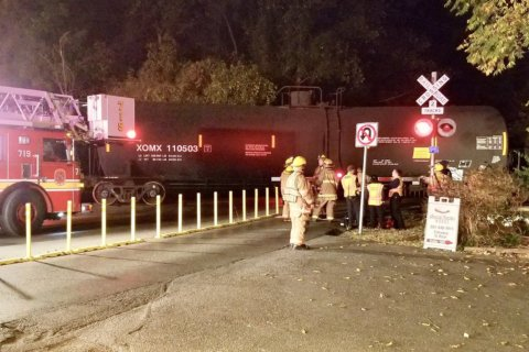 Driver injured after collision with freight train in Montgomery Co.