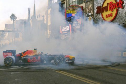 Burnouts on Hollywood Blvd: F1 drivers bring racing to LA