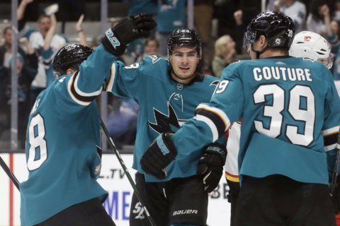Hertl has goal and assist as Sharks top Flames 3-1
