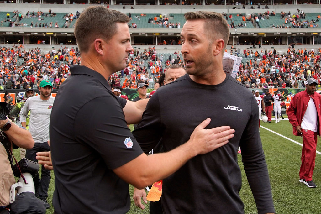 "<p><b><i>Cardinals 26</i></b><br /> <b><i>Bengals 23</i></b></p> <p>Only because someone had to win this battle of winless Sean McVay wannabes with <a href=""https://profootballtalk.nbcsports.com/2019/10/04/kliff-kingsbury-zac-taylor-were-once-cfl-teammates/"">CFL roots</a>.</p>"