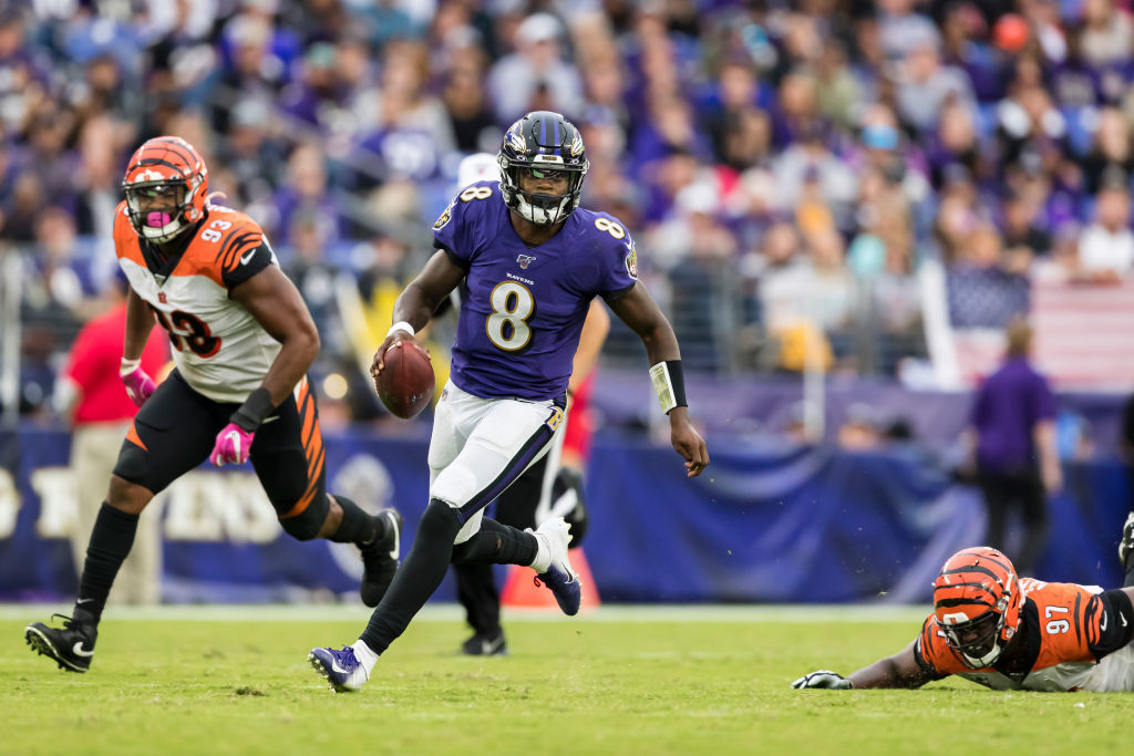 <p><b><i>Bengals 17</i></b><br /> <b><i>Ravens 23</i></b></p> <p>Lamar Jackson has three 100-yard rushing games — two against Cincinnati alone — in his first two seasons, which matches only Billy Kilmer in the last 70 years. Every record Michael Vick owns is in jeopardy, and Baltimore gets a front-row seat for one of the greatest shows the NFL has to offer.</p>