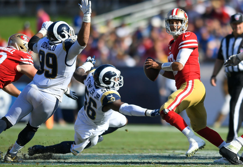 "<p><b><i>49ers 20</i></b><br /> <b><i>Rams 7</i></b></p> <p>Considering this is what <a href=""https://profootballtalk.nbcsports.com/2019/10/09/nick-bosa-says-jared-goff-hasnt-done-anything-to-anger-him-yet/"" target=""_blank"" rel=""noopener"" data-saferedirecturl=""https://www.google.com/url?q=https://profootballtalk.nbcsports.com/2019/10/09/nick-bosa-says-jared-goff-hasnt-done-anything-to-anger-him-yet/&amp;source=gmail&amp;ust=1571101182804000&amp;usg=AFQjCNHH2cnRq3dHaFieQ4SLWnv0GMO70A"">the Niners defense does to a QB they&#8217;re not mad at</a>, Kyle Shanahan is <a href=""https://profootballtalk.nbcsports.com/2019/10/11/kyle-shanahan-embraces-the-challenge-of-replacing-injured-players/"" target=""_blank"" rel=""noopener"" data-saferedirecturl=""https://www.google.com/url?q=https://profootballtalk.nbcsports.com/2019/10/11/kyle-shanahan-embraces-the-challenge-of-replacing-injured-players/&amp;source=gmail&amp;ust=1571101182804000&amp;usg=AFQjCNH88CWDX-Tc6GOckQ4uh2c0w9CADg"">proverbially plugging his fingers in holes</a> extremely well and Jimmy G <a href=""https://twitter.com/ESPNStatsInfo/status/1183524732295110657?s=20"" target=""_blank"" rel=""noopener"" data-saferedirecturl=""https://www.google.com/url?q=https://twitter.com/ESPNStatsInfo/status/1183524732295110657?s%3D20&amp;source=gmail&amp;ust=1571101182804000&amp;usg=AFQjCNGA3fSzXOqgC7Qs-v4L6Q7zJeODMw"">wins more than DJ Khaled</a>, San Francisco looks poised to run away with a division that&#8217;s a helluva lot closer than most expected it to be at this point in the season.</p>"