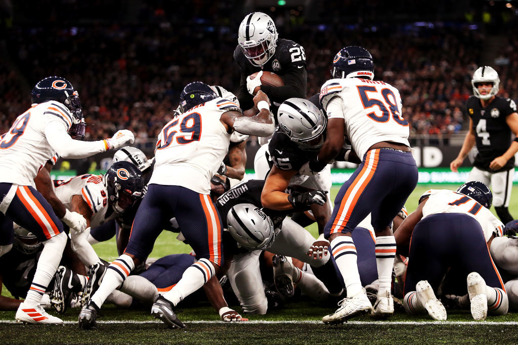 "<p><b><i>Bears 21</i></b><br /> <b><i>Raiders 24</i></b></p> <p>This game was supposed to be <a href=""https://profootballtalk.nbcsports.com/2019/10/03/nfl-is-on-25th-london-game-has-still-never-had-two-winning-teams/"" target=""_blank"" rel=""noopener"">another Across-the-Pond stinker</a> to remind us that Jon Gruden dealing Khalil Mack to Chicago made the Bears a Super Bowl contender faster than he could ever make the Raiders. Instead, we&#8217;re viewing these two 3-2 teams very differently than we did six weeks ago: Oakland looks like a Wild Card contender and Chicago looks like a variation of <a href=""https://www.nbcsports.com/chicago/bears/khalil-mack-nfc-north-race-dog-poop-fast-dont-poop-long"">whatever the hell Mack was talking about last week</a>.</p>"