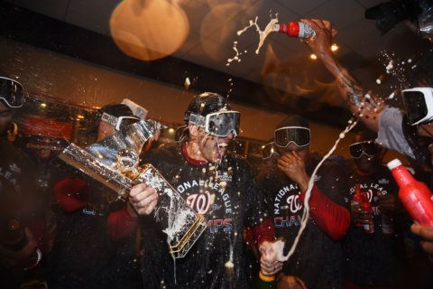 Nats, fans celebrate pennant win