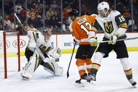 Flyers score 4 in the 2nd period, top Golden Knights 6-2