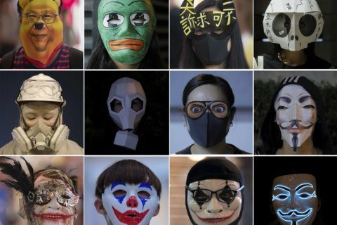 AP Photos: Hong Kongers use masquerade as new protest tactic