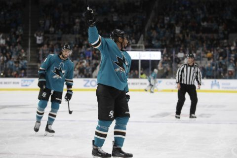Kane's 3 goals in 1st lead Sharks past Hurricanes 5-2