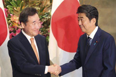 Abe meets S. Korean premier amid row over trade, history