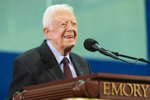 The Latest: Jimmy Carter fall: 14 stitches but gets to rally