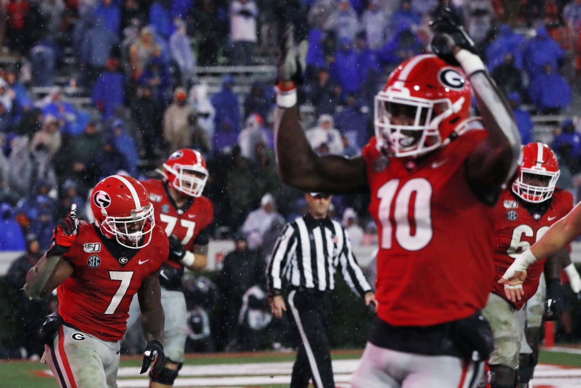 <p><strong>No. 6 Georgia (7-1):</strong> Win out, win SEC title</p> <p>Everything is right in front of Georgia to make the playoff. Blessed with a schedule that avoided both Alabama and LSU in the regular season, even with the slip-up against South Carolina, the Bulldogs have a clear path in the SEC East. They'll have one more shot at a potential Top 10 win at Auburn in two weeks, potentially putting them on a path to the conference championship. Knock off the SEC West champ, and they're in.</p>