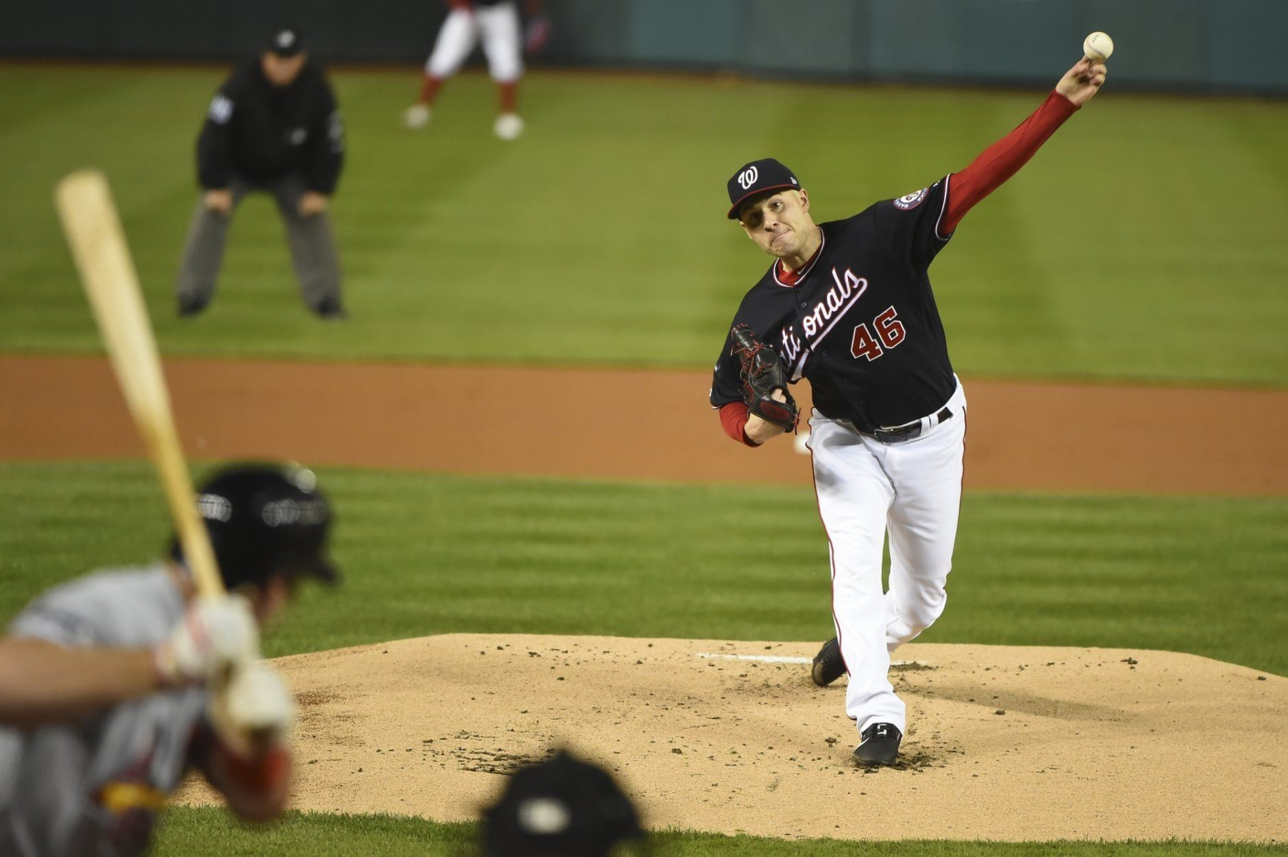 Washington Nationals' Patrick Corbin throws during the first inning of Game 4 of the baseball National League Championship Series against the St. Louis Cardinals Tuesday, Oct. 15, 2019, in Washington. (AP Photo/Will Newton, Pool)