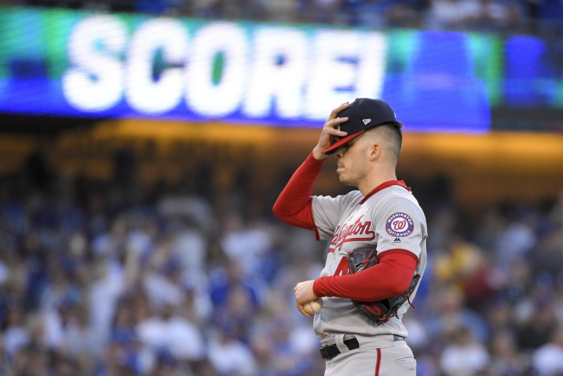 Washington Nationals starting pitcher Patrick Corbin reacts after waking in a run during the first inning against the Los Angeles Dodgers in Game 1 in baseball's National League Divisional Series on Thursday, Oct. 3, 2019, in Los Angeles. (AP Photo/Mark J. Terrill)