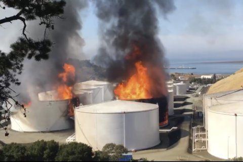 Health warning lifted over fire at California oil facility