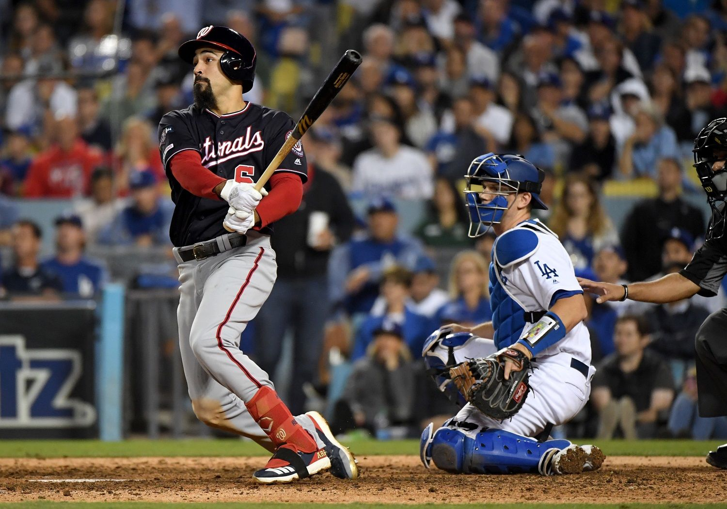 <p><strong>3. NLDS Game 5: Anthony Rendon's 10<sup>th</sup>-inning ground-rule double: 24% | 82%</strong></p> <p>Yes, Rendon's double that put runners at second and third with nobody out actually impacted the Nats' chances more than Kendrick's slam later in the inning, according to the numbers. That got the wheels turning, as Juan Soto was intentionally walked ahead of Kendrick. That may well have happened to most hitters in that spot, but you could be sure the Dodgers would put Soto on, considering his previous at-bat.</p>