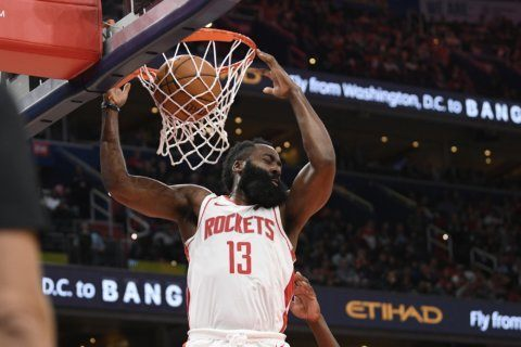 Harden has 59 points, Rockets outscore Wizards 159-158