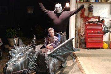 Halloween costumes wouldn't fit his son's wheelchair. Now he builds epic outfits himself
