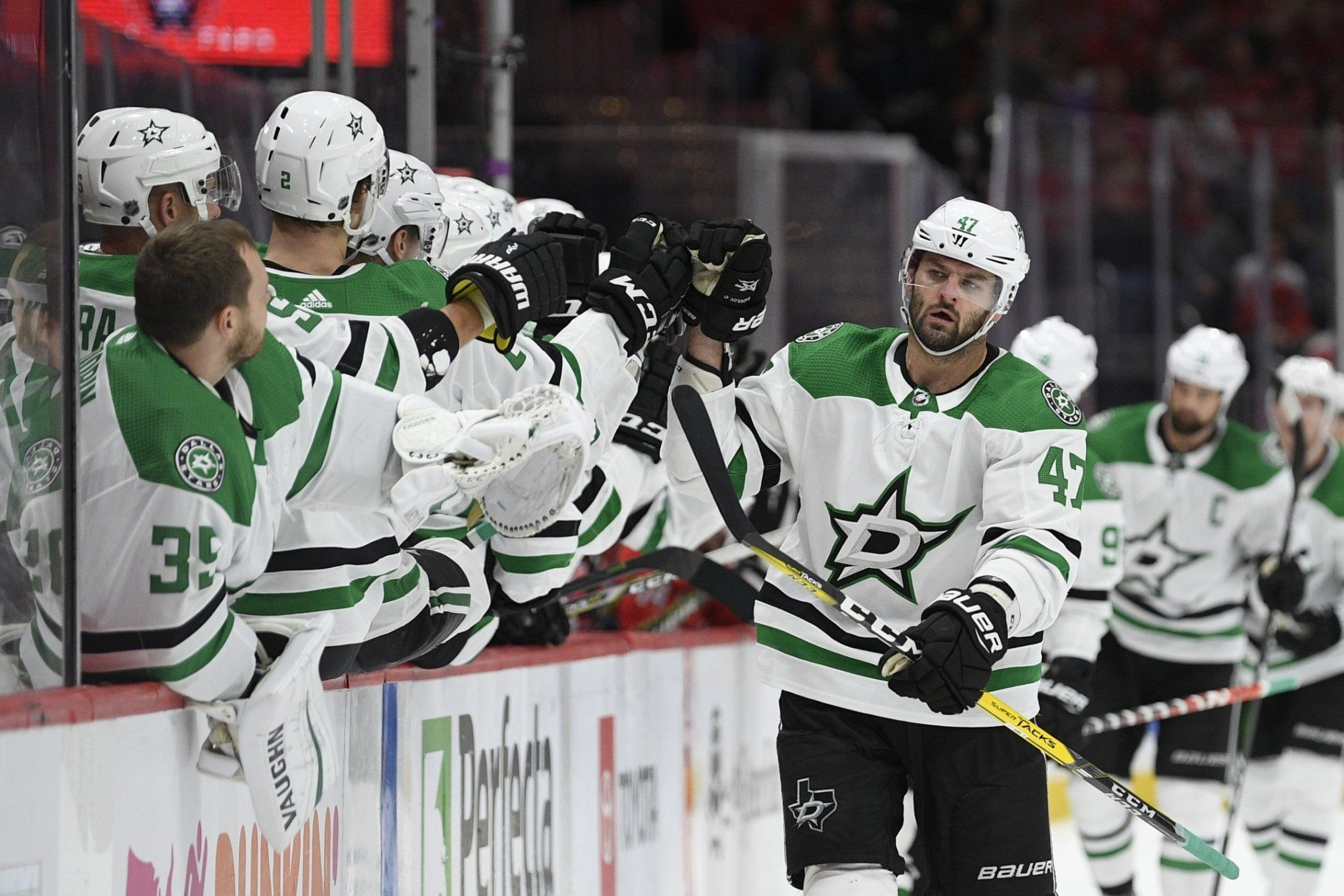 Dallas Stars right wing Alexander Radulov (47), of Russia, celebrates his goal during the third period of the team's NHL hockey game against the Washington Capitals, Tuesday, Oct. 8, 2019, in Washington. The Stars won 4-3 in overtime. (AP Photo/Nick Wass)
