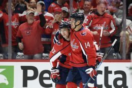 Washington Capitals center Evgeny Kuznetsov (92), of Russia, celebrates his goal with right wing Richard Panik (14) during the first period of the team's NHL hockey game against the Dallas Stars, Tuesday, Oct. 8, 2019, in Washington. (AP Photo/Nick Wass)
