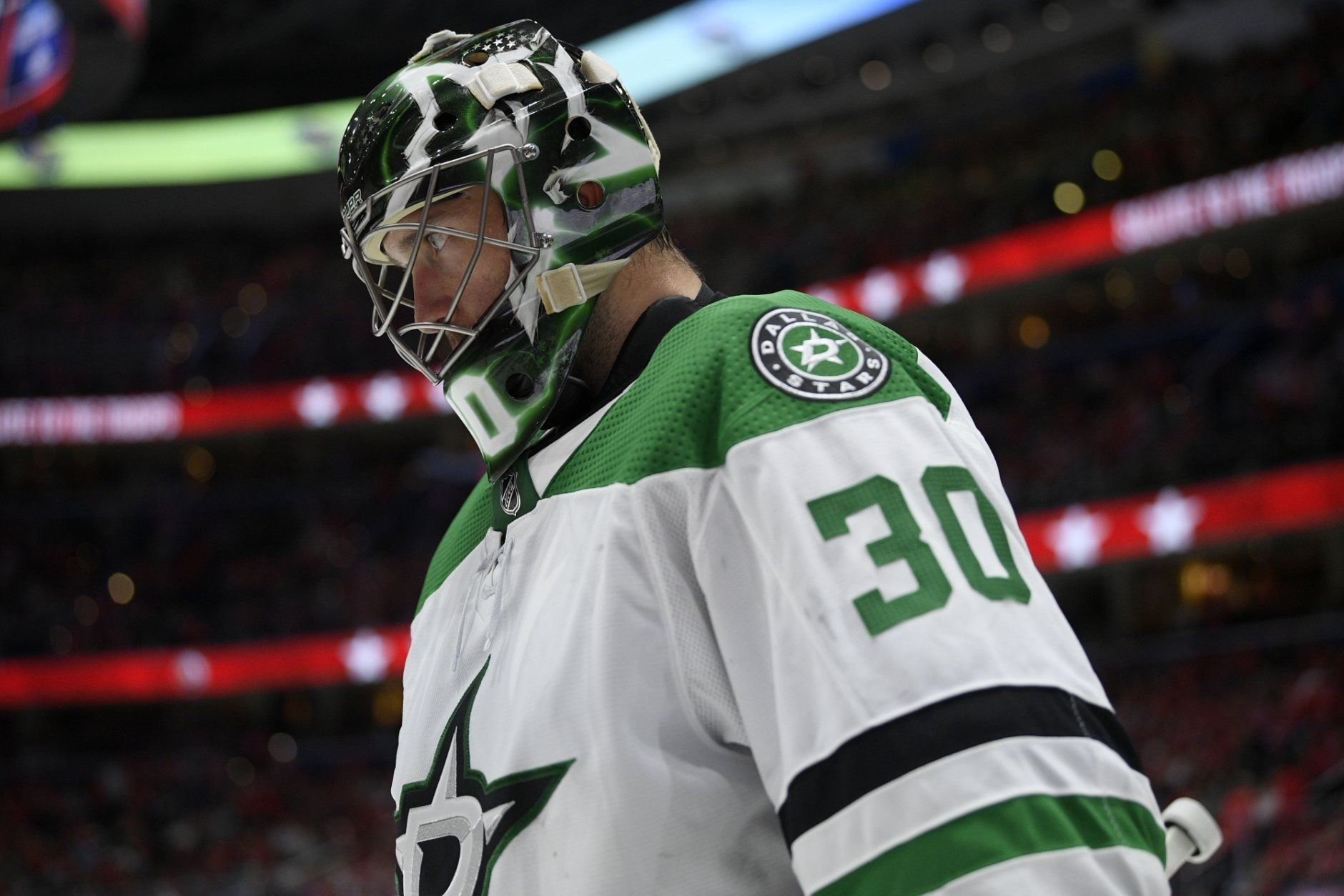 Dallas Stars goaltender Ben Bishop stands on the ice during a break in the action in the third period of the team's NHL hockey game against the Washington Capitals, Tuesday, Oct. 8, 2019, in Washington. The Stars won 4-3 in overtime. (AP Photo/Nick Wass)