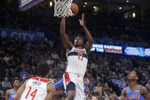Bryant scores 21 points, Wizards top Thunder 97-85