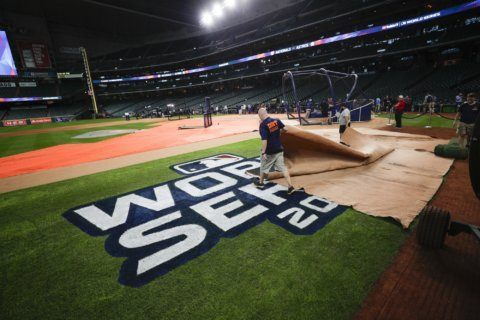 The Latest: Soto homers, doubles and Nats win Game 1